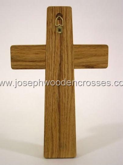 12inch oak wall cross bronze inlay back