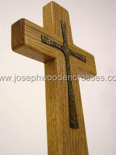 12inch oak wall cross bronze inlay bottomright