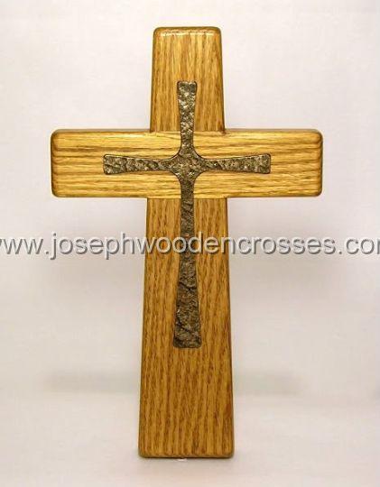 12inch oak wall cross bronze inlay front