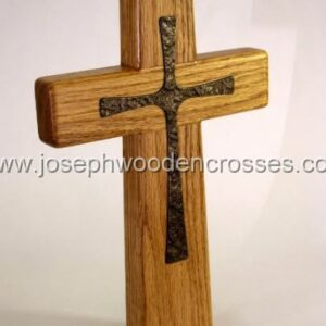 12inch oak wall cross bronze inlay offsetright