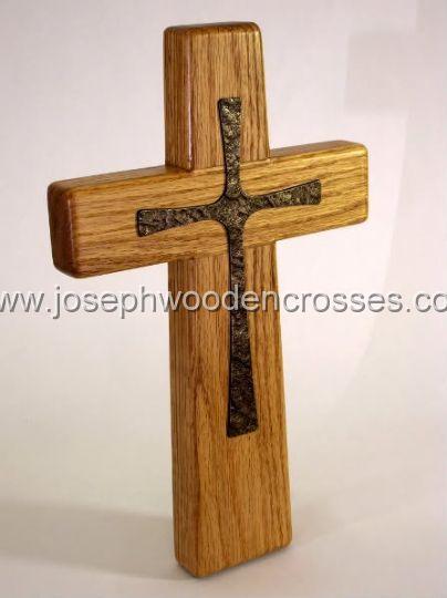 12inch oak wall cross bronze inlay offsetright