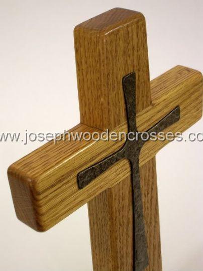 12inch oak wall cross bronze inlay topright