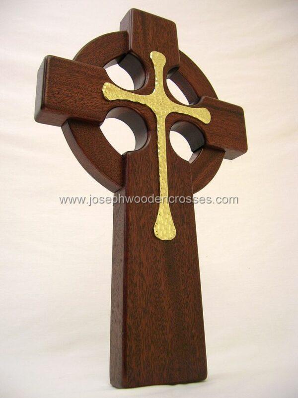 16 Inch Mahogany Celtic Cross with Brass Inlay