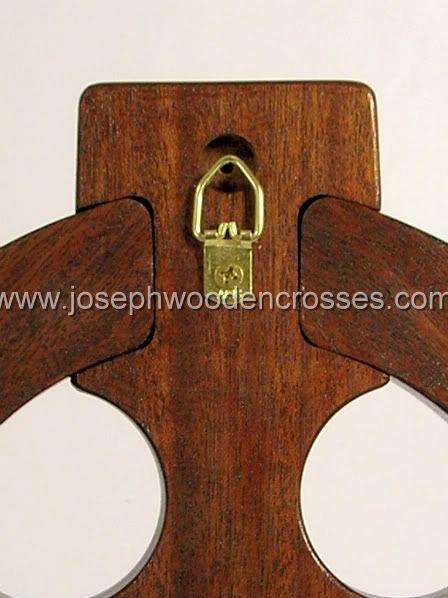 16 Inch Mahogany Celtic Cross with Brass Inlay back closeup