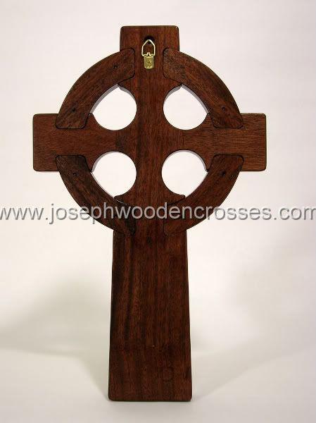 16 Inch Mahogany Celtic Cross with Brass Inlay back