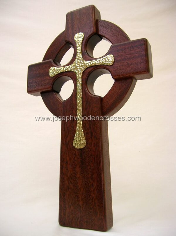 16 Inch Mahogany Celtic Cross with Brass Inlay bottomleft
