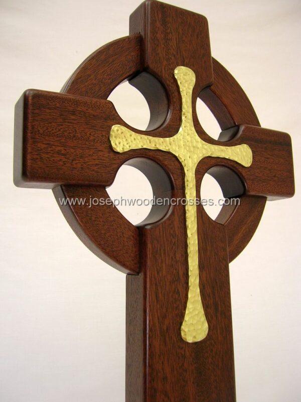 16 Inch Mahogany Celtic Cross with Brass Inlay bottomright