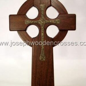 16 Inch Mahogany Celtic Cross with Bronze Resin Inlay