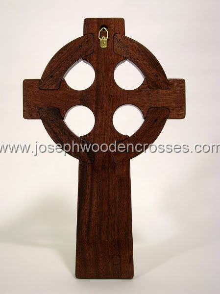 16 Inch Mahogany Celtic Cross with Bronze Resin Inlay back