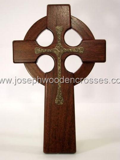 16 Inch Mahogany Celtic Cross with Bronze Resin Inlay