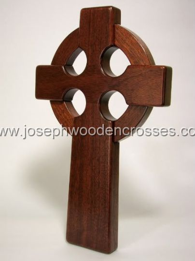 16 Inch Mahogany Irish Celtic Cross front left