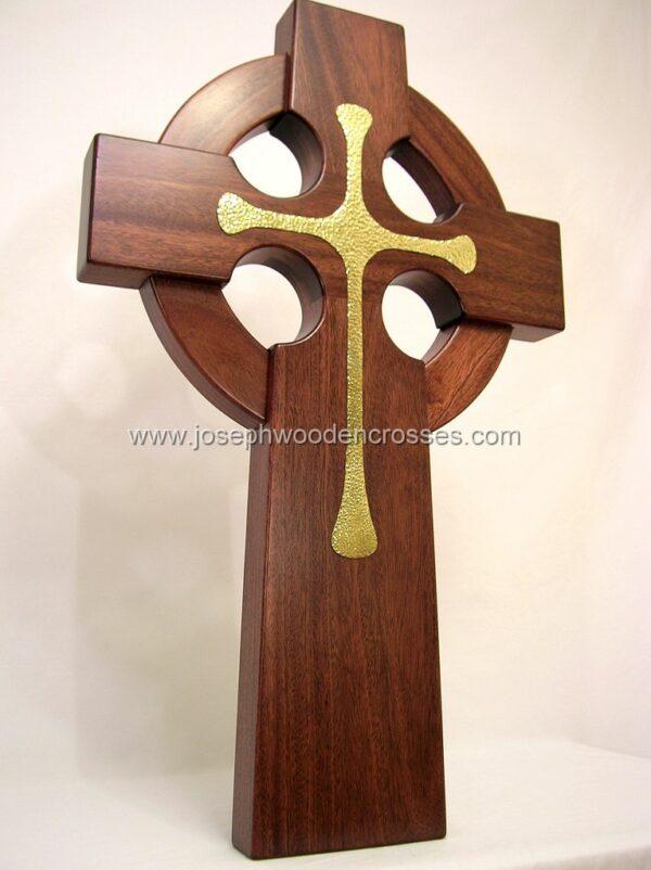 3 Foot Mahogany Irish Celtic Cross Brass Inlay