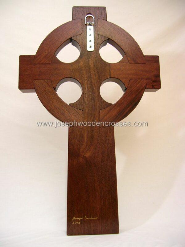 3 Foot Mahogany Irish Celtic Cross Brass Inlay back