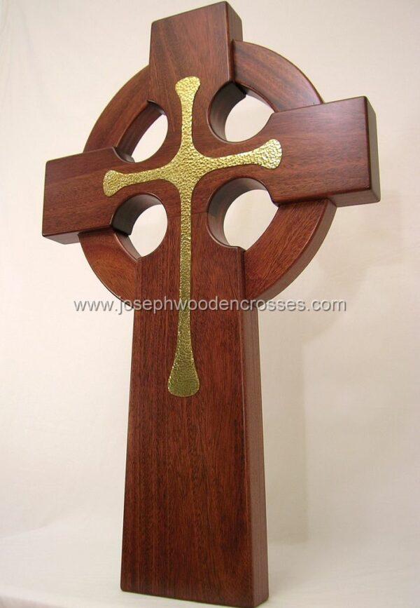 3 Foot Mahogany Irish Celtic Cross Brass Inlay bottom left