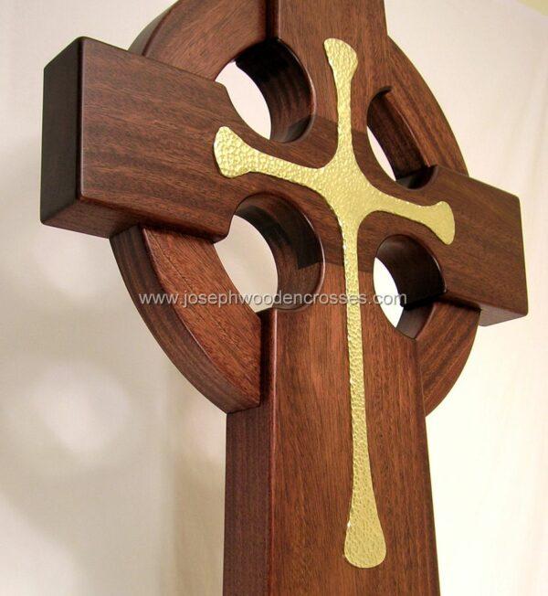 3 Foot Mahogany Irish Celtic Cross Brass Inlay bottom right