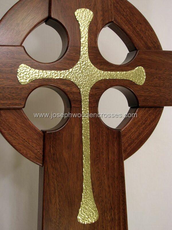3 Foot Mahogany Irish Celtic Cross Brass Inlay front closeup