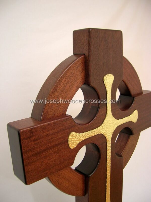 3 Foot Mahogany Irish Celtic Cross Brass Inlay topright