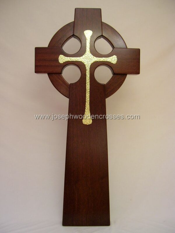 4 Foot Mahogany Irish Celtic Cross Brass Inlay