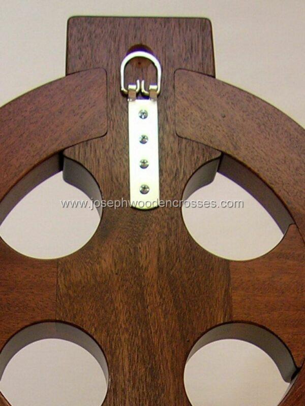 4 Foot Mahogany Irish Celtic Cross Brass Inlay back closeup