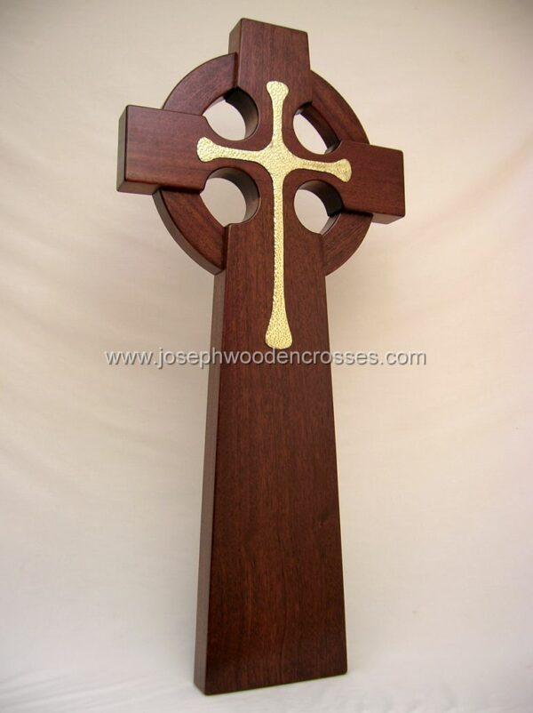 4 Foot Mahogany Irish Celtic Cross Brass Inlay bottom right