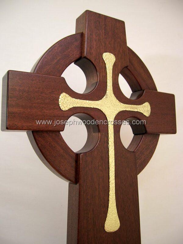 4 Foot Mahogany Irish Celtic Cross Brass Inlay bottom right closeup
