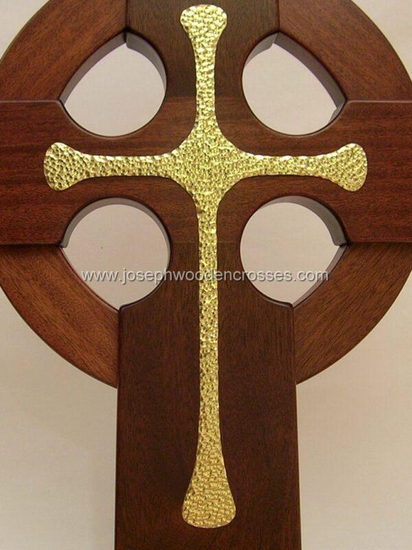 4 Foot Mahogany Irish Celtic Cross Brass Inlay front closeup