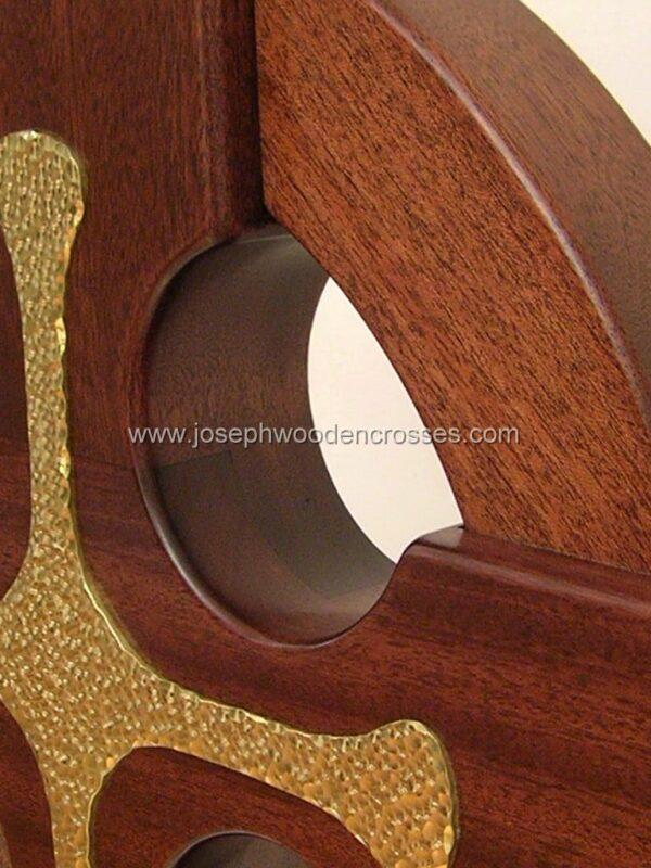 4 Foot Mahogany Irish Celtic Cross Brass Inlay top left closeup
