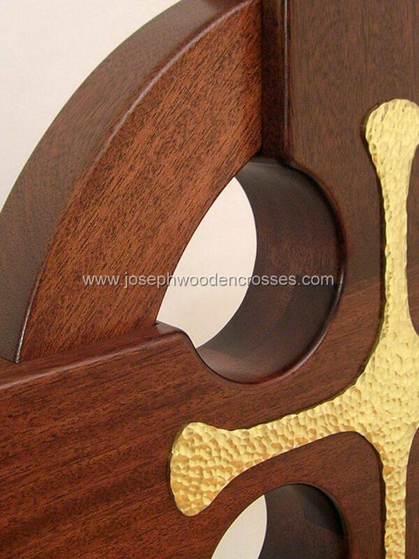 4 Foot Mahogany Irish Celtic Cross Brass Inlay top right closeup