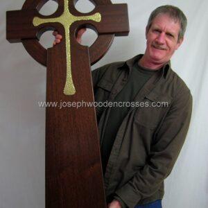 4 Foot Mahogany Irish Celtic Cross Brass Inlay with joe