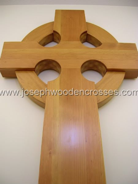 6 Foot Wood Celtic Wall Cross bottom front