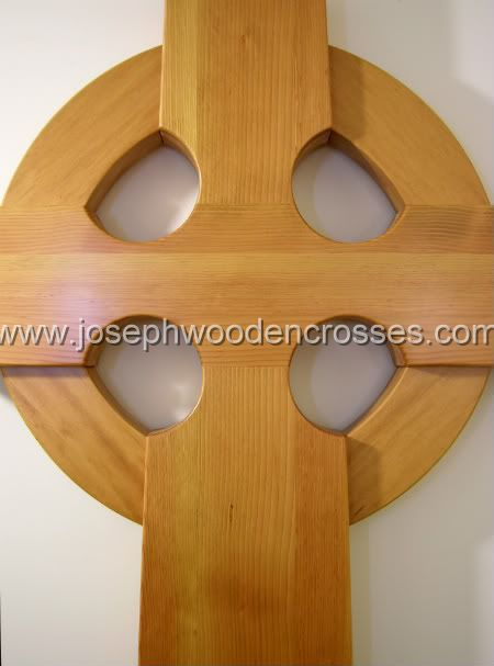 6 Foot Wood Celtic Wall Cross closeup