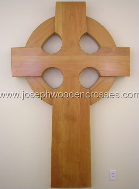 6 Foot Wood Celtic Wall Cross front closeup