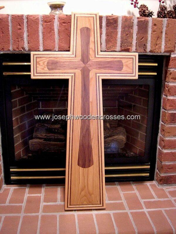 Christian Wall Cross with Oak and Walnut inlay fireplace