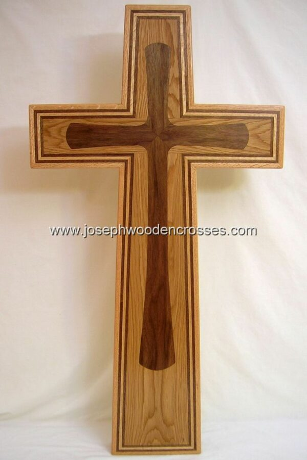 Christian Wall Cross with Oak and Walnut inlay front view