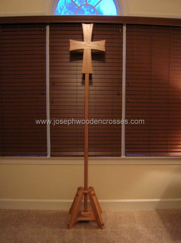 Greek Orthodox processional cross Oak Stand front
