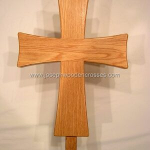 Greek Orthodox processional cross Oak Stand front closeup