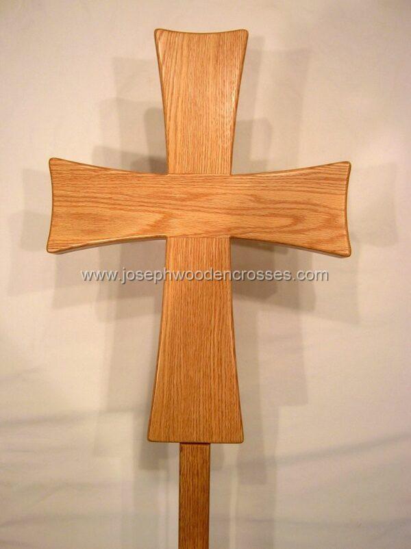 Greek Orthodox processional cross Oak Stand front closeup