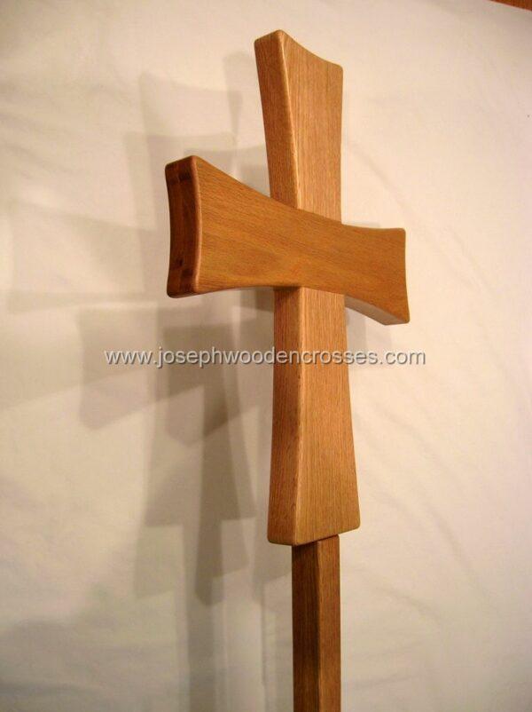 Greek Orthodox processional cross Oak Stand frontright