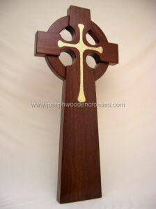 Home Page 4 foot Mahogany Celtic Cross Brass Inlay