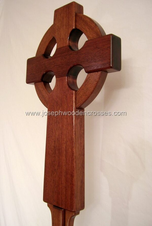 Irish Celtic Processional Cross in Mahogany with Stand bottomleft