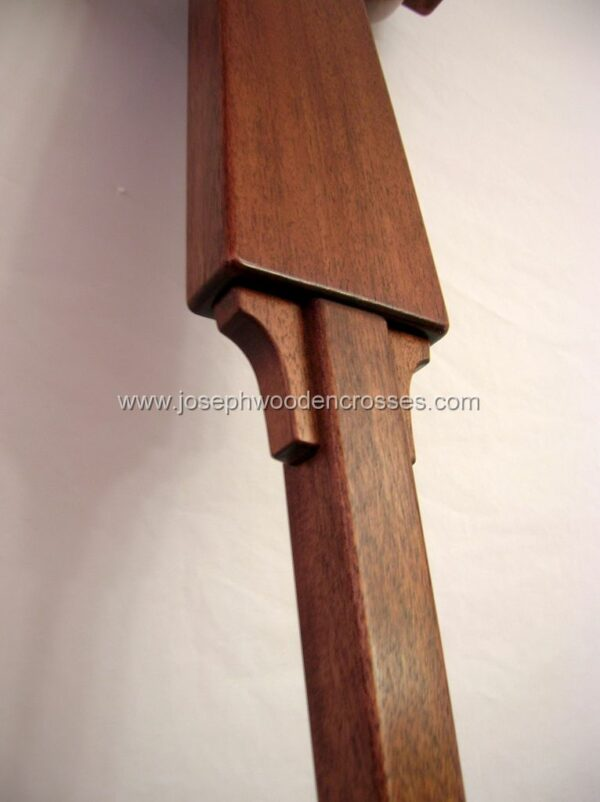 Irish Celtic Processional Cross in Mahogany with Stand closeup
