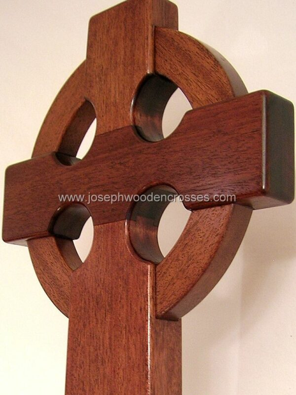 Irish Celtic Processional Cross in Mahogany with Stand closeup of cross
