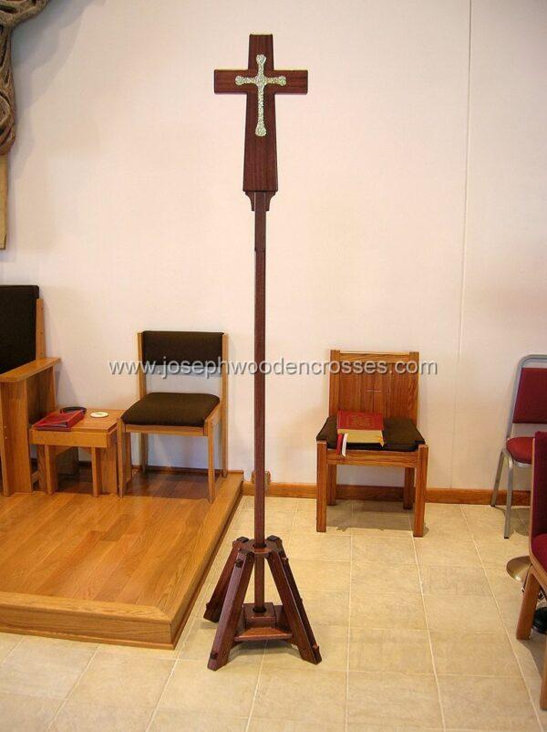 Latin Processional Cross in Mahogany Brass Inlay
