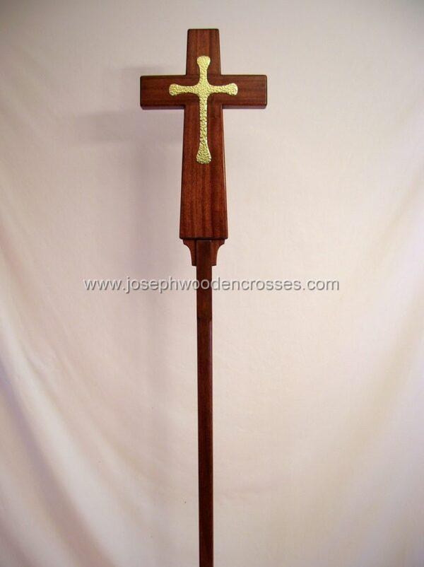 Latin Processional Cross in Mahogany Brass Inlay close