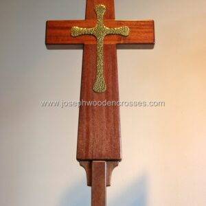 Latin Processional Cross in Mahogany Brass Inlay closeup