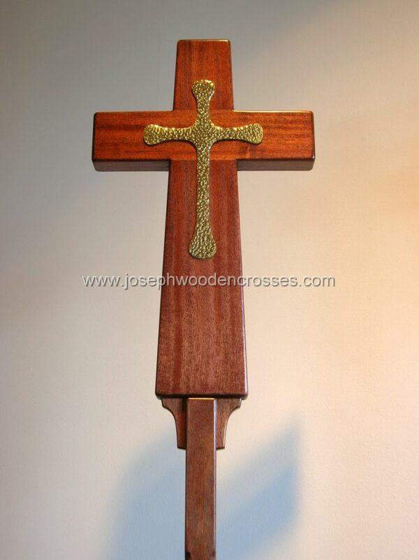 Latin Processional Cross in Mahogany Brass Inlay closeup