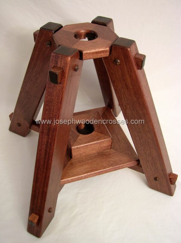 Latin Processional Cross in Mahogany Brass Inlay stand