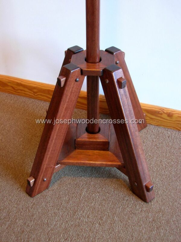 Latin Processional Cross in Mahogany Brass Inlay stand with pole