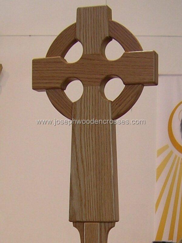 Oak Celtic Processional Cross front right close up joseph wooden crosses