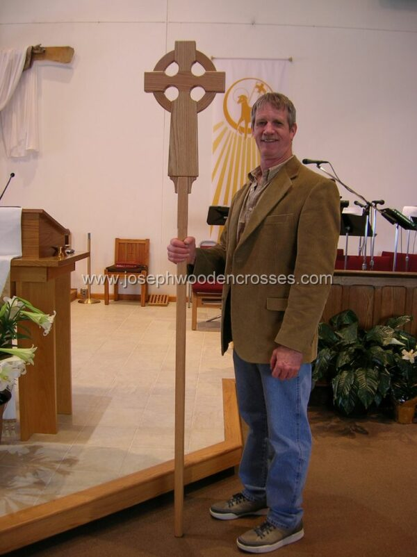 Oak Celtic Processional Cross with Decorative Oak Stand